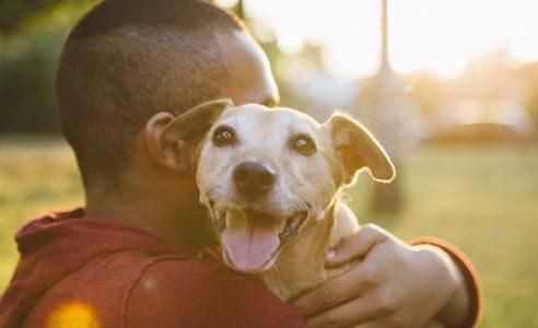 Man som kramar en hund